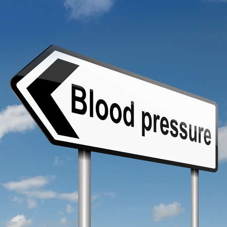 Illustration depicting a road traffic sign with a blood pressure concept. Blue sky background. illustration
