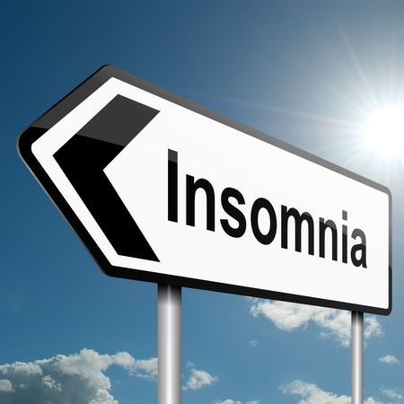 Illustration depicting a road traffic sign with a insomnia concept. Blue sky background. Stock Photo