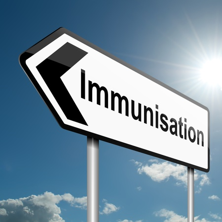 varicelle: Illustration repr�sentant un signe de la circulation routi�re avec un fond de vaccination concept de ciel bleu