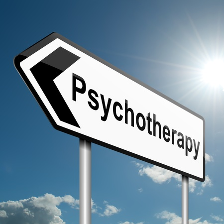 psychiatry: Illustration depicting a road traffic sign with a psychotherapy concept  Blue sky background  Stock Photo