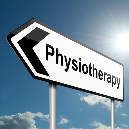 fysiotherapie: Illustratie geeft een weg verkeersbord met een fysiotherapie begrip Blauwe hemel achtergrond