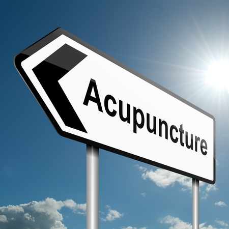 chinese medicine: Illustration depicting a road traffic sign with an acupuncture concept  Blue sky background  Stock Photo