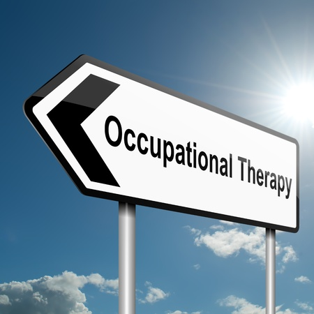 ergotherapie: Illustratie geeft een verkeersongeval bordje met een ergotherapie begrip Blauwe hemel achtergrond