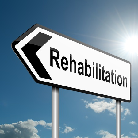 Illustration depicting a road traffic sign with a rehabilitation concept  Blue sky background  Stock Photo