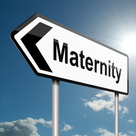Illustration depicting a road traffic sign with a maternity concept. Blue sky background. Stock Illustration - 13820763