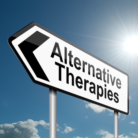 Illustration depicting a road traffic sign with an alternative therapies concept. Blue sky background.