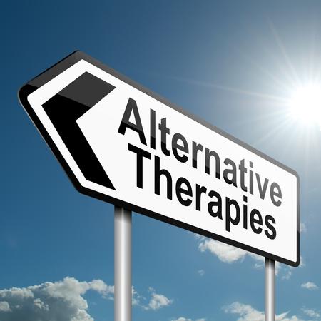 Ilustración que muestra una señal de tráfico con un concepto de terapias alternativas. Cielo azul de fondo.