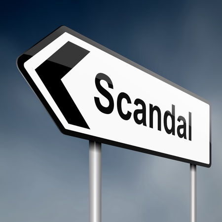 scandalous: Illustration depicting a road traffic sign with a scandal concept. Dark sky background.