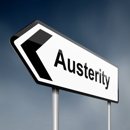austerity: Illustration depicting a road traffic sign with an austerity concept. Blue sky background.