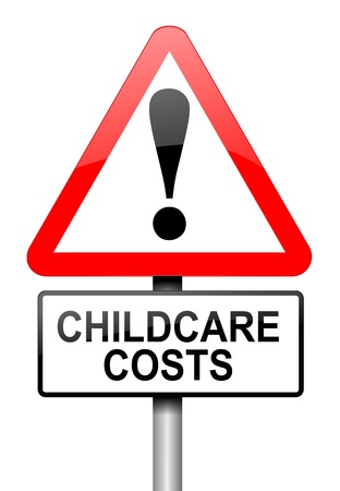 childcare: Illustration depicting a road traffic sign with a childcare cost concept. White background.