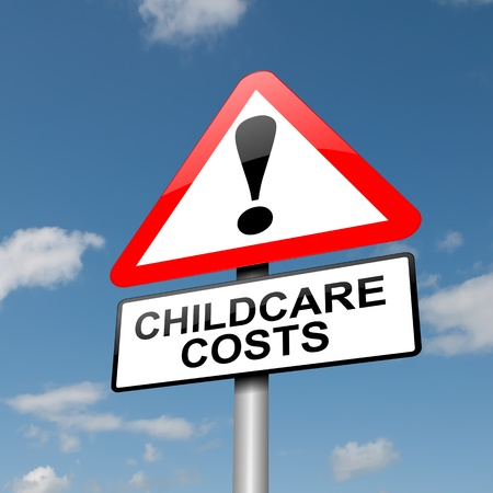 Illustration depicting a road traffic sign with a childcare cost concept. Blue sky background. illustration
