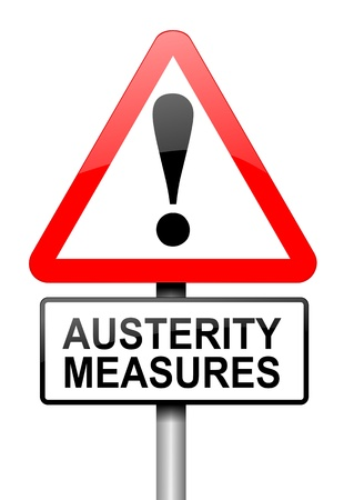 austerity: Illustration depicting a road traffic sign with an austerity concept. White background.