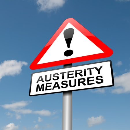 Illustration depicting a road traffic sign with an austerity concept. Blue sky background. illustration