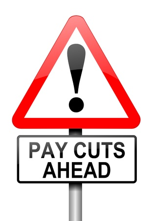 cost reduction: Illustration depicting a road traffic sign with a pay cut concept. White background.