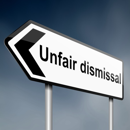 dismissal: Illustration depicting a road traffic sign with an unfair dismissal cost concept. Dark sky background.