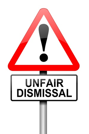wrongful: Illustration depicting a road traffic sign with an unfair dismissal cost concept. White background.
