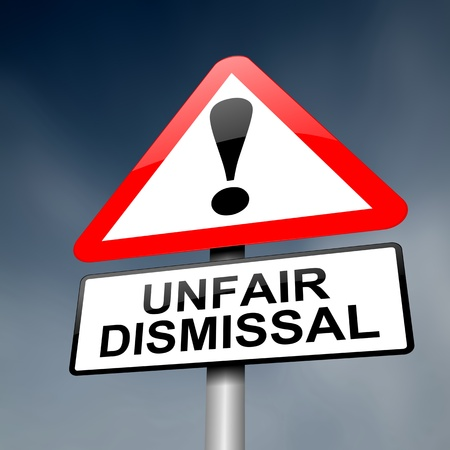 employment issues: Illustration depicting a road traffic sign with an unfair dismissal cost concept. Dark background.