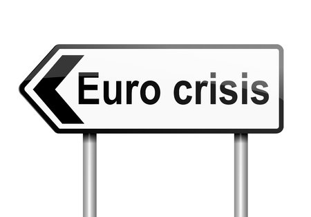 Illustration depicting a road traffic sign with a Euro crisis concept  White background Stock Illustration - 13844837