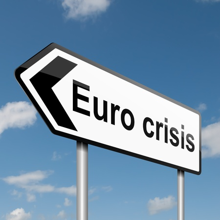 eurozone: Illustration depicting a road traffic sign with a Euro crisis concept  Blue sky background