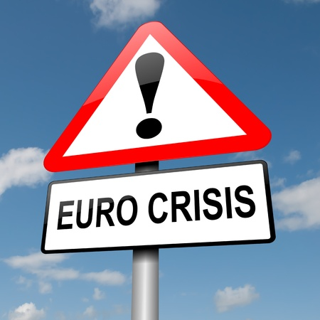 Illustration depicting a road traffic sign with a Euro crisis concept  Blue sky background  illustration