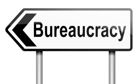 Illustration depicting a road traffic sign with a bureaucracy concept  White background  Stock Illustration - 13844834