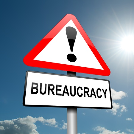 bureaucracy: Illustration depicting a road traffic sign with a bureaucracy concept  Blue sky background