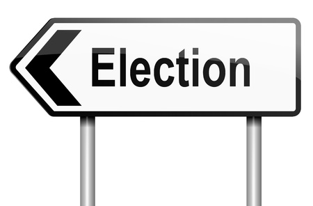 Illustration depicting a road traffic sign with a election concept  White background  illustration