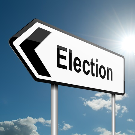 local government: Illustration depicting a road traffic sign with a election concept  Blue sky background  Stock Photo