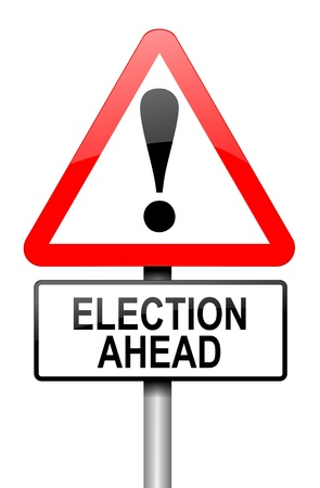 presidential election: Illustration depicting a road traffic sign with a election concept  White background