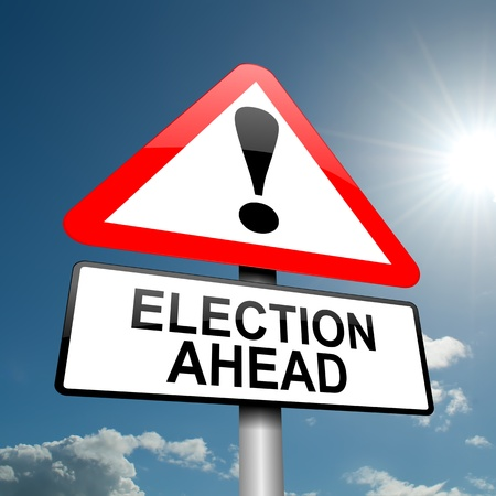 political system: Illustration depicting a road traffic sign with a election concept  Blue sky background  Stock Photo