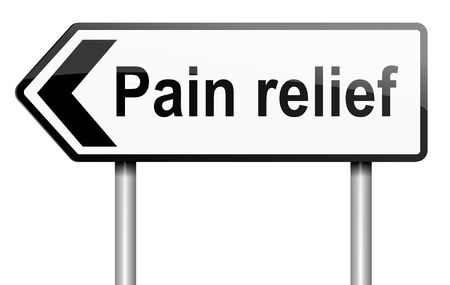 analgesia: Illustration depicting a road traffic sign with a pain relief concept  White background