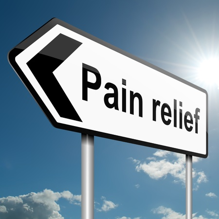Illustration depicting a road traffic sign with a pain relief concept  Blue sky background