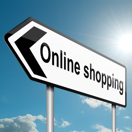 order online: Illustration depicting a road traffic sign with an online shopping concept  White background