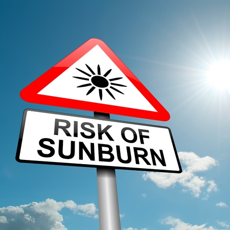 skin burns: Illustration depicting a road traffic sign with asunburn risk concept  Blue sky background