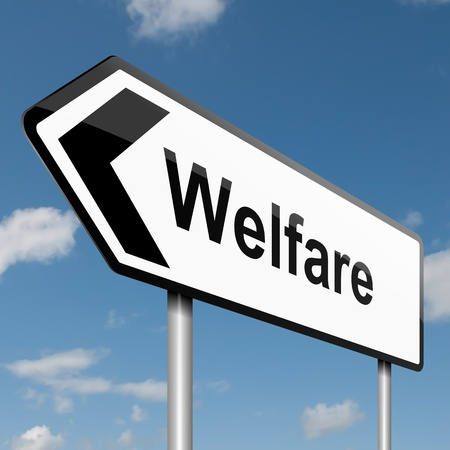 Illustration depicting a road traffic sign with a welfare concept  Blue sky background Stock Illustration - 13882133