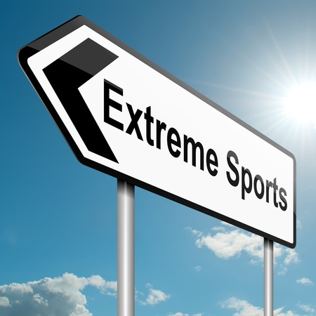 extreme danger: Illustration depicting a road traffic sign with an extreme sports concept  Blue sky background