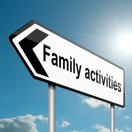 family activities: Illustration depicting a road traffic sign with a family activities concept  Blue sky background