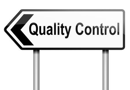 Illustration depicting a road traffic sign with a quality control concept  White background Stock Illustration - 13882095