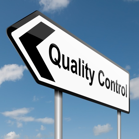 Illustration depicting a road traffic sign with a quality control concept Blue sky background