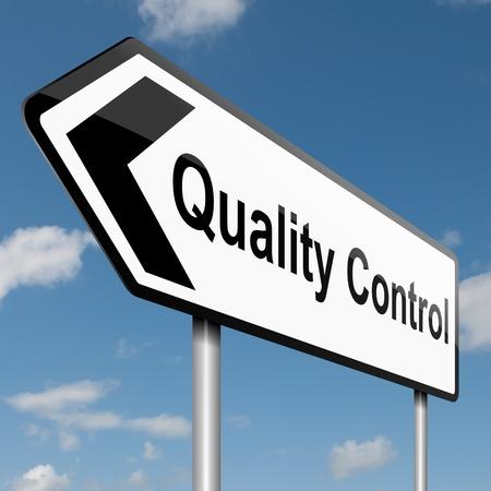 control de calidad: Ilustraci�n que muestra una se�al de tr�fico con un control de calidad de fondo de cielo azul concepto