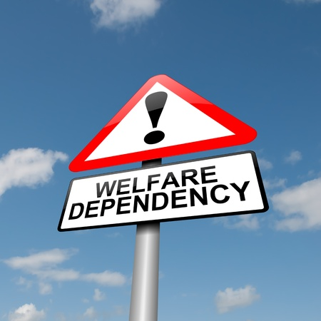 dependence: Illustration depicting a road traffic sign with a Welfare dependence concept  Blue sky  background  Stock Photo