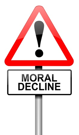 moral: Illustration depicting a road traffic sign with a moral decline concept  White background