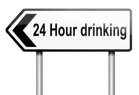 underage: Illustration depicting a road traffic sign with a 24 hour drinking concept  White background