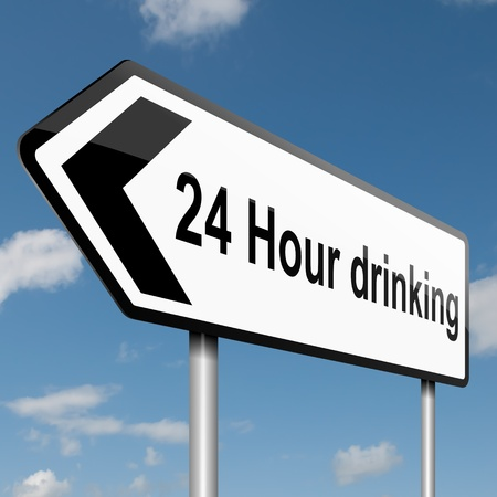 Illustration depicting a road traffic sign with a 24 hour drinking concept  Blue sky background  illustration
