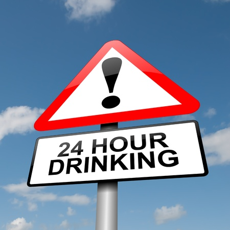 inebriated: Illustration depicting a road traffic sign with a 24 hour drinking concept  Blue sky background
