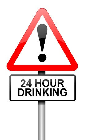 Illustration depicting a road traffic sign with a 24 hour drinking concept  White background