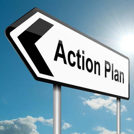 plan d action: Illustration repr�sentant un signe de la circulation routi�re avec un fond du plan d'action concept de ciel bleu