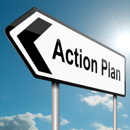 plan de accion: Ilustraci�n que muestra una se�al de tr�fico por carretera con un plan de acci�n el fondo del cielo azul concepto