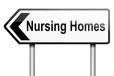 mobility nursing: Illustration depicting a road traffic sign with a nursing home concept  White background