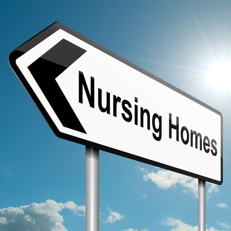 mobility nursing: Illustration depicting a road traffic sign with a nursing home concept  Blue sky background  Stock Photo